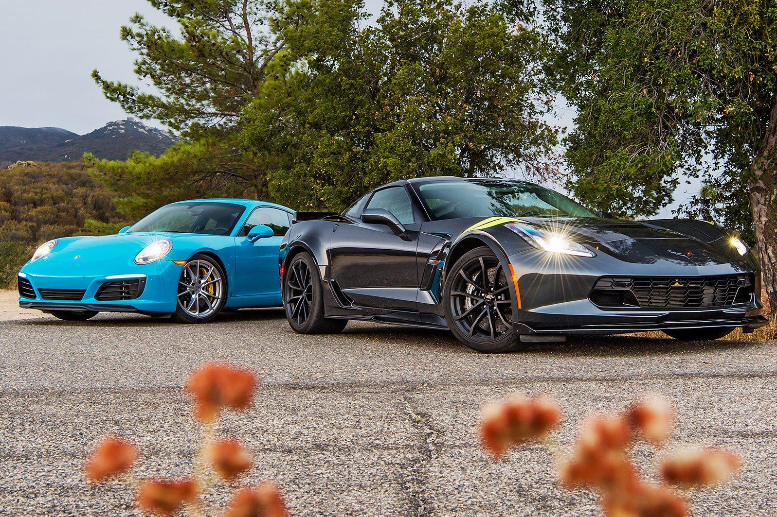 2017-Chevrolet-Corvette-Grand-Sport-vs-2017-Porsche-911-Carrera-S-front-three-quarter-03-e1475596307160
