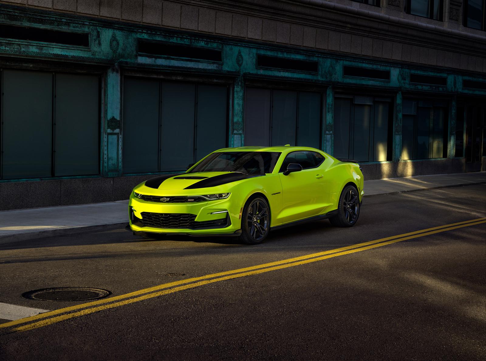 camaro yellow chevrolet shock gm