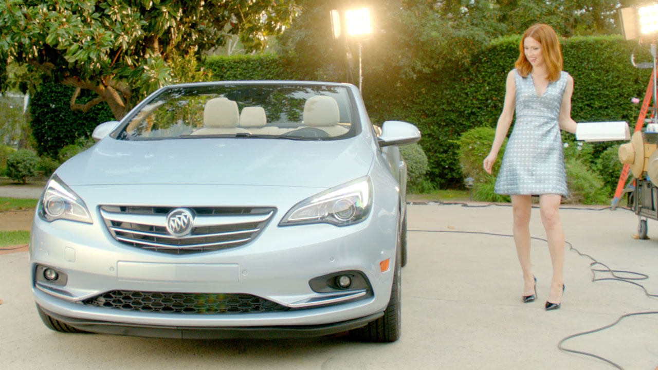 """Ellie Kemper introduces herself to the Buick Cascada convertible in """"Meet the Talent,"""" a new digital advertisement"""