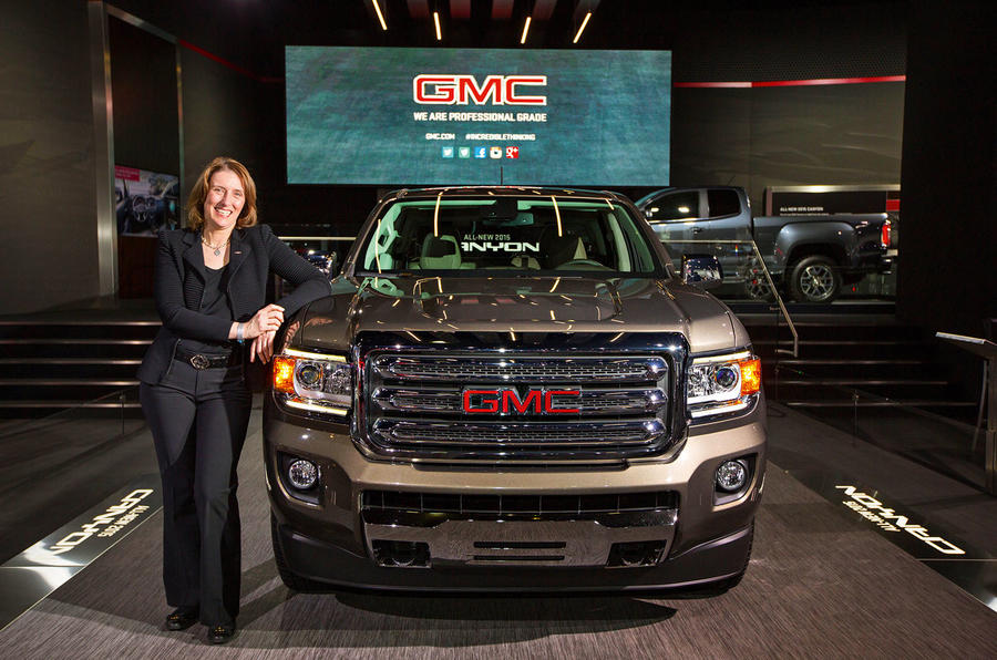 Global GMC Design Executive Director Helen Emsley and the 2015 GMC Canyon midsize pickup (Photo by Jeffrey Sauger for GMC)