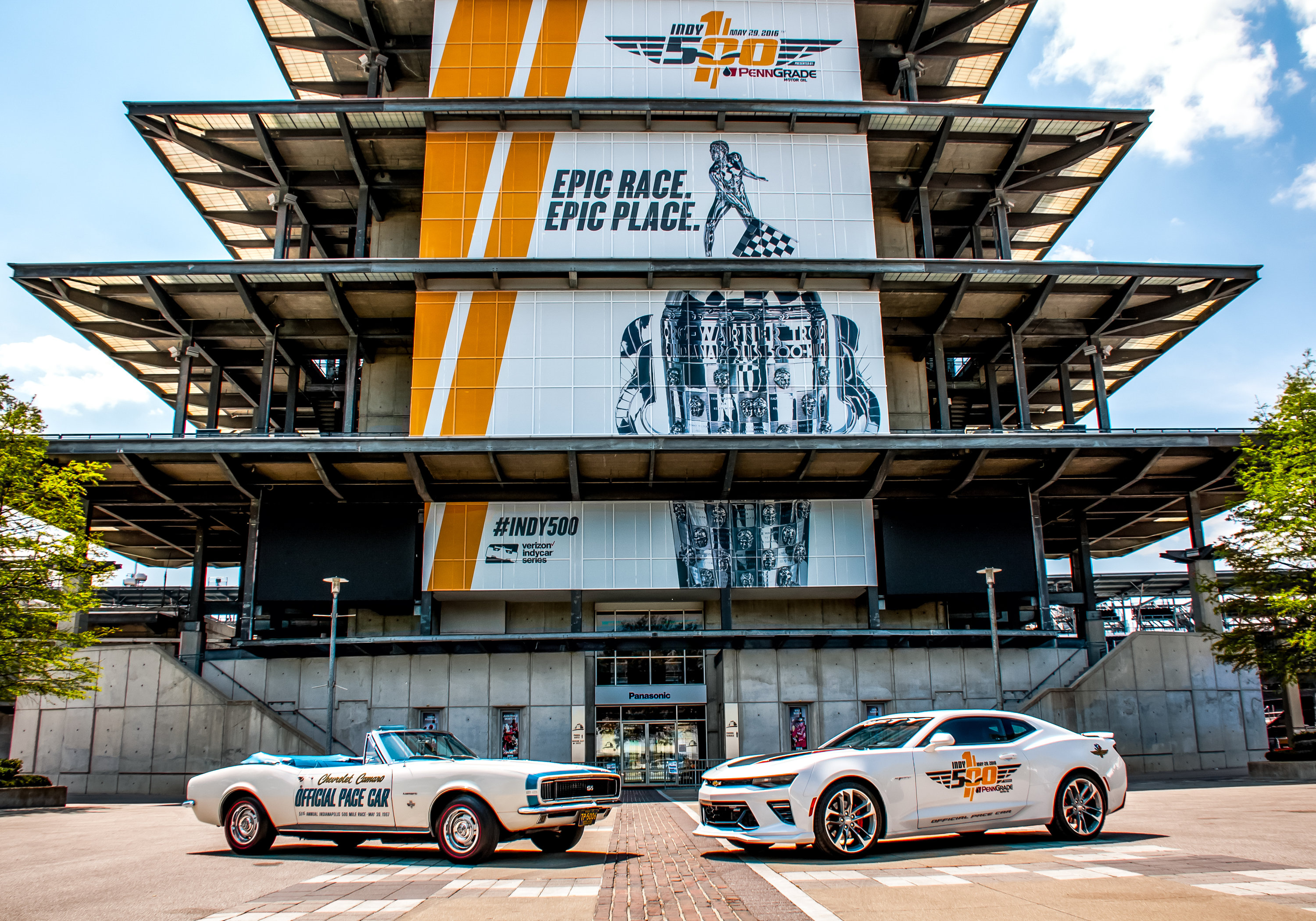 The 2017 Chevrolet Camaro SS 50th Anniversary Edition (right) will lead the field during the 100th running of the Indianapolis 500 on Sunday, May 29, driven by motorsports legend Roger Penske. ItÕs the 27th time since 1948 that a Chevrolet has served as the pace car and the ninth time for Camaro. Nine pace cars trace the history of Camaro and the Indianapolis 500. The first Camaro to pace the race was the 1967 Camaro RS/SS (left) in its inaugural year. (Photo by Indianapolis Motor Speedway for Chevy Racing)